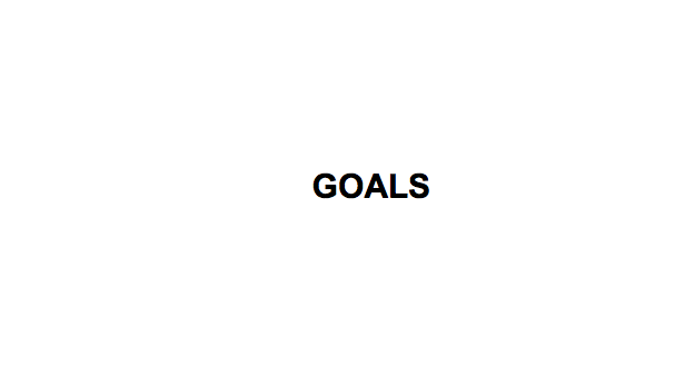 "In the centre of the page the central theme ""goals"" is written"