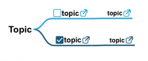 Topic with link icon and checkbox